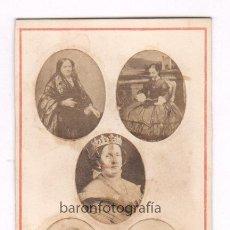 Fotografía antigua: REINA ISABEL II Y OTRAS, FOTO: JULIO VIRENQUE, PALMA MALLORCA. 1860'S. Lote 50317863