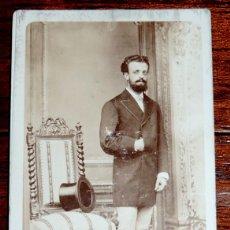 Fotografía antigua: FOTOGRAFIA CDV J. LAURENT CARTE DE VISITE DE CABALLERO, MIDE 10,5 X 6 CMS. APROXIMADAMENTE. Lote 51071549