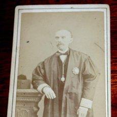 Fotografía antigua: FOTOGRAFIA ALBUMINA CDV DE MAGISTRADO, CARTE DE VISITE, FOTOGRAFO CANTO DE BARCELONA, SIGLO XIX, MID. Lote 51406853