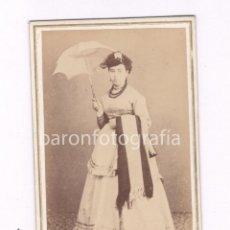 Fotografía antigua: RETRATO CDV DE ISABEL GUINART, DEDICADA. FOTO: ROMÁN RIBAS, PALMA DE MALLORCA. 1860S.. Lote 52031199