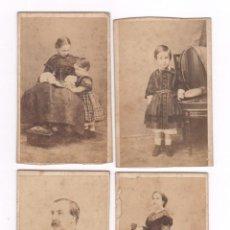 Fotografía antigua: EL DUQUE DE MONTPENSIER, ESPOSA E HIJOS. 4 CDV DE ALONSO MARTÍNEZ Y HEBERT, MADRID.. Lote 53179097