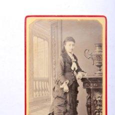 Fotografía antigua: ANTIGUA FOTOGRAFIA CARTA DE VISITA SEÑORA ELEGANTE FOTOGRAFO G.LARAUZA BARCELONA. Lote 53728073