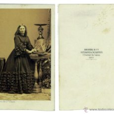 Fotografía antigua: CDV ALBUMINA DISDERI PARIS. DAMA SIN IDENTIFICAR 10 X 6 CM. CARTA DE VISITA. Lote 53868131