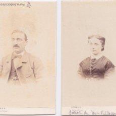 Fotografía antigua: F-1658. PAREJA DE CARTES DE VISITE. MATRIMONIO S.XIX.. Lote 54364057
