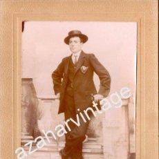 Fotografía antigua: ESPECTACULAR CDV, SIGLO XIX, UN CABALLERO, FOT.MONFORTE. MORA DE TOLEDO,125X182MM. Lote 54426372