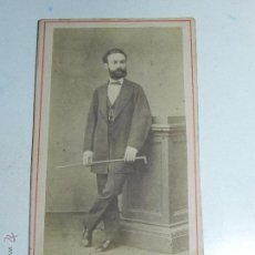 Fotografía antigua: FOTOGRAFIA ALBUMINA DE CABALLERO, CARTE DE VISITE, CDV, ESTABLECIMIENTO FOTOGRAFICO FRANCO HISPANO A. Lote 54648520