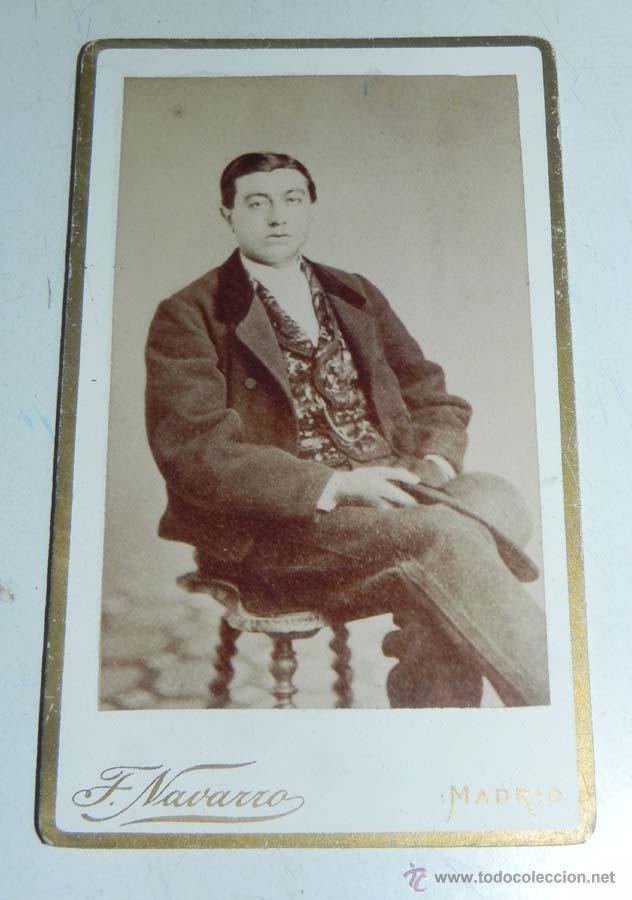 FOTOGRAFIA ALBUMINA DE CABALLERO, SIGLO XIX, CARTE DE VISITE, CDV, FOTOGRAFO F. NAVARRO DE MADRID, M (Fotografía Antigua - Cartes de Visite)