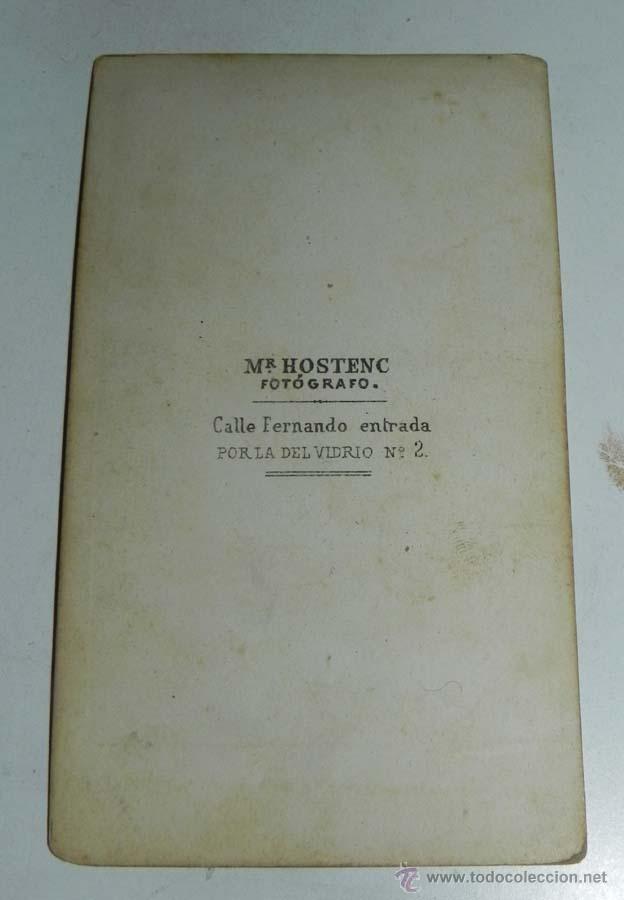 Fotografía antigua: FOTOGRAFIA ALBUMINA DE CABALLERO, CDV, SIGLO XIX, CARTE DE VISITE, FOTOGRAFO MR. HOSTENC, CALLE FERN - Foto 2 - 54665837