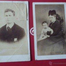 Fotografía antigua: BONITAS 2 CDV S.XIX SEÑOR Y MUJER CON NIÑO TRAJE FOT. J. GUIARD SANTIAGO COMPOSTELA - GALICIA CORUÑA. Lote 54824209