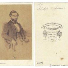 Fotografía antigua: CDV PIERRE PETIT. ADOLPHE ADAM - MUSIC COMPOSITEUR - COMPOSITOR. CARTA DE VISITA EN ALBUMINA. Lote 55084773