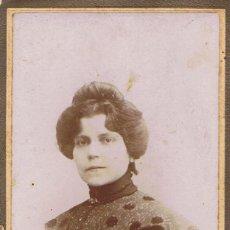Fotografía antigua: FOTO CARTA DE VISITA.SEÑORA CON TOCADO.CA.1885. FOTÓGRAFO: MARSAL. TARRAGONA. Lote 55350977