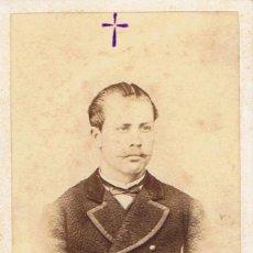 Fotografía antigua: FOTO CARTA DE VISITA. CABALLERO FALLECIDO EN CAMPAÑA DE CUBA.21-3-1878. FOTÓG.: GENISCANS.VALENCIA. Lote 55393226