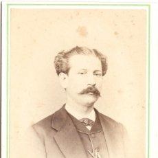 Photographie ancienne: FOTOGRAFÍA DE CABALLERO - CARTE DE VISITE - FOTOGRAFÍA DE MARIANO JUDEZ - ZARAGOZA - SIGLO XIX. Lote 56304377