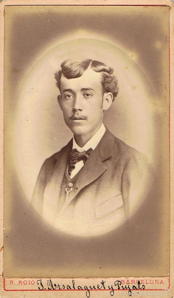 FOTO CARTA DE VISITA. RETRATO DE J.ARSALAGUET PUJALS. CA.1880. FOTÓGRAFO: R.ROIG. BARCELONA. (Fotografía Antigua - Cartes de Visite)