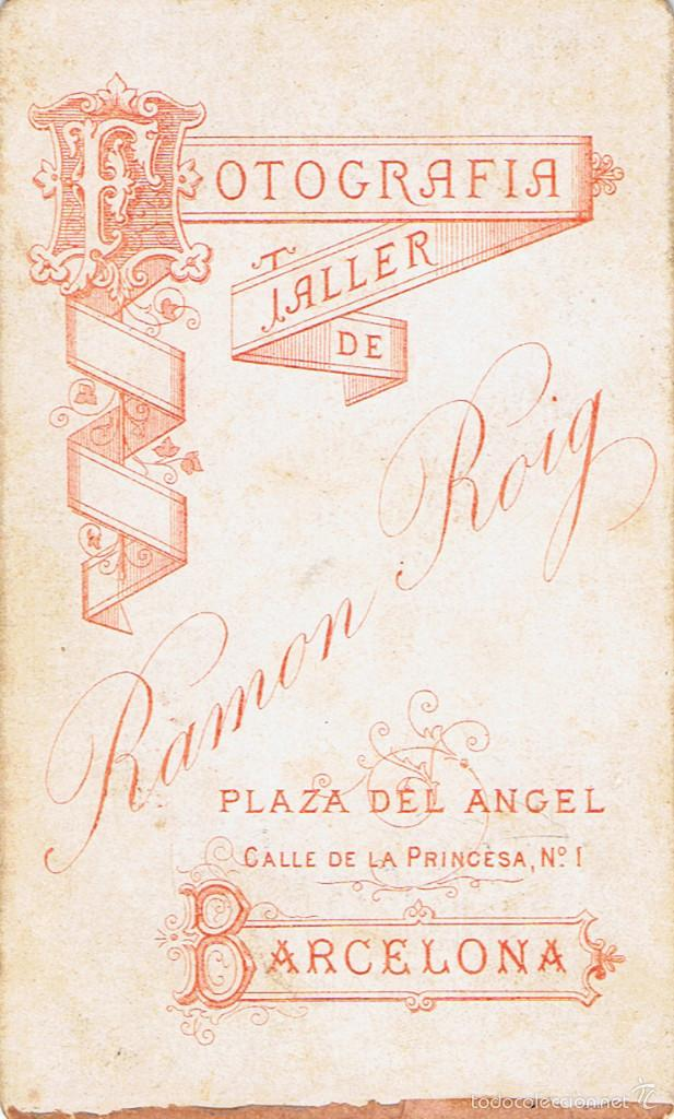 Fotografía antigua: FOTO CARTA DE VISITA. RETRATO DE J.ARSALAGUET PUJALS. CA.1880. FOTÓGRAFO: R.ROIG. BARCELONA. - Foto 2 - 56995544