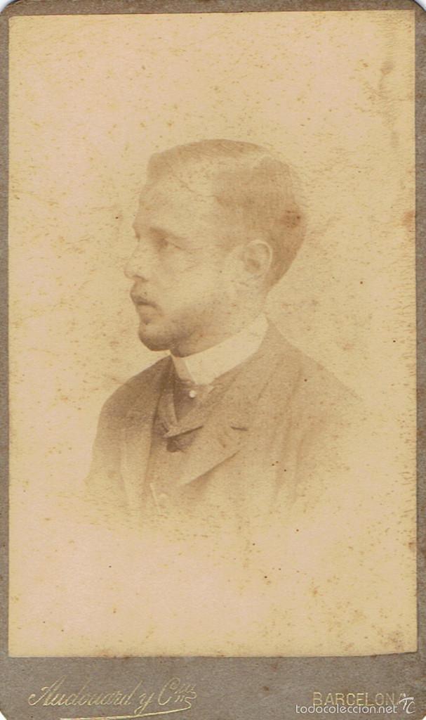 FOTO CARTA DE VISITA. CABALLERO DE PERFIL.CA.1880-1885. FOTÓGRAFO: AUDOUARD. BARCELONA. (Fotografía Antigua - Cartes de Visite)