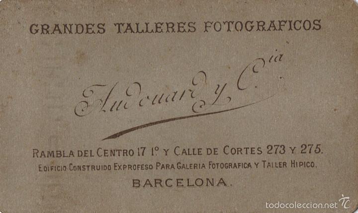 Fotografía antigua: FOTO CARTA DE VISITA. CABALLERO DE PERFIL.CA.1880-1885. FOTÓGRAFO: AUDOUARD. BARCELONA. - Foto 2 - 57075390