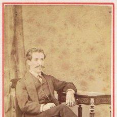 Fotografía antigua: FOTO C.VISITA. RETRATO DE MANUEL SAINZ. CA.1865-1875. FOT: E.GARREAUD. COPIAPÓ.SANTIAGO (CHILE). Lote 57139944