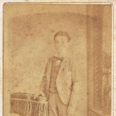 Fotografía antigua: FOTO C. DE VISITA. JOVEN ADOLESCENTE. CA.1870.FOTOGRAFIA FRANCO ESPAÑOLA DE CARLOS BOSCH. BARCELONA. Lote 57334124