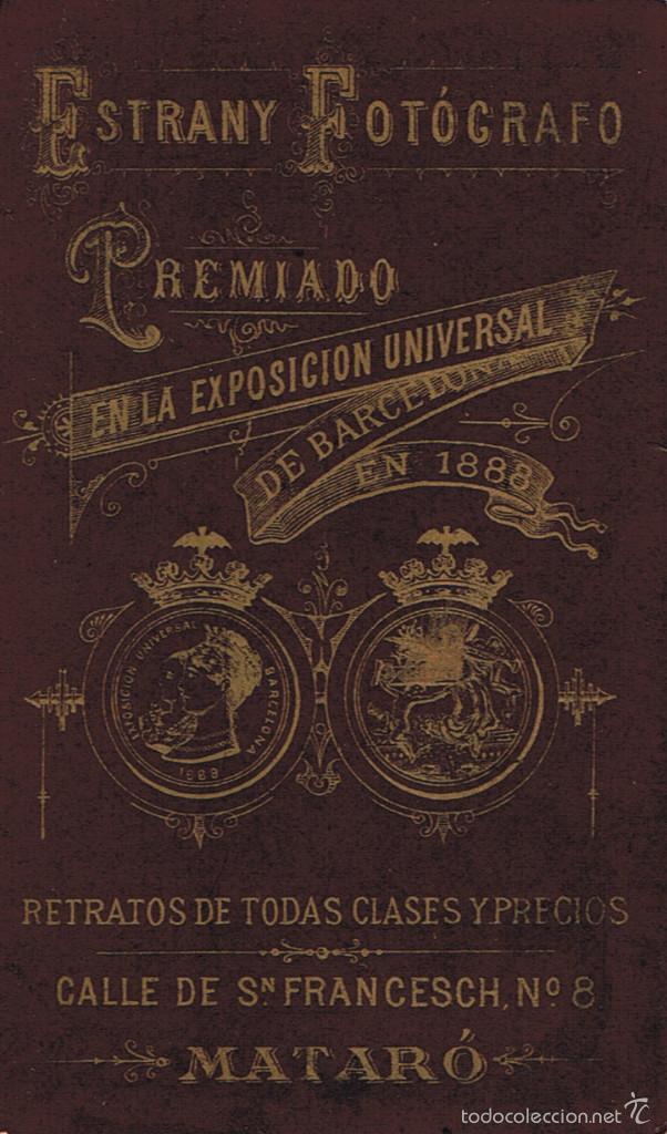 Fotografía antigua: FOTO C. DE VISITA.RETRATO DE SEÑORITA CON ESTRECHAS HOMBRERAS.CA.1880. FOTÓG: ESTRANY. MATARÓ. - Foto 2 - 57670987