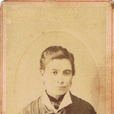 Fotografía antigua: FOTO CARTA DE VISITA. RETRATO DE SEÑORA CON CAMAFEO. CA.1880-1885. FOTÓGRAFO: A. TORIJA. TARRASA.. Lote 57679598
