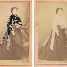 Fotografía antigua: DOS FOTOS CARTA DE VISITA. RETRATOS DE LA MISMA SEÑORITA. CA. 1865-1870FOT: B.ARANOLS. FIGUERAS.. Lote 58349135