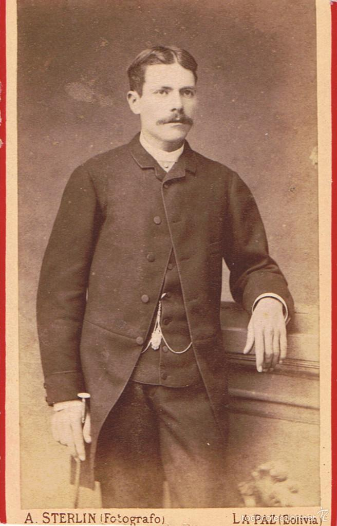 FTO.C.DE VISITA. RETRATO DE JOSE SOLER, DEDICADA A SU AMIGO.1885. FOT.: A.STERLIN. LA PAZ (BOLIVIA) (Fotografía Antigua - Cartes de Visite)