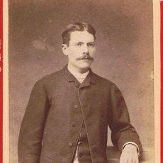 Fotografía antigua: FTO.C.DE VISITA. RETRATO DE JOSE SOLER, DEDICADA A SU AMIGO.1885. FOT.: A.STERLIN. LA PAZ (BOLIVIA). Lote 58349846