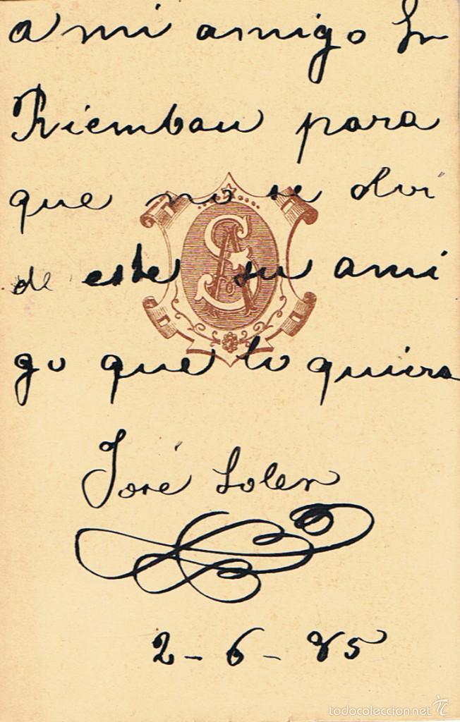 Fotografía antigua: FTO.C.DE VISITA. RETRATO DE JOSE SOLER, DEDICADA A SU AMIGO.1885. FOT.: A.STERLIN. LA PAZ (BOLIVIA) - Foto 2 - 58349846