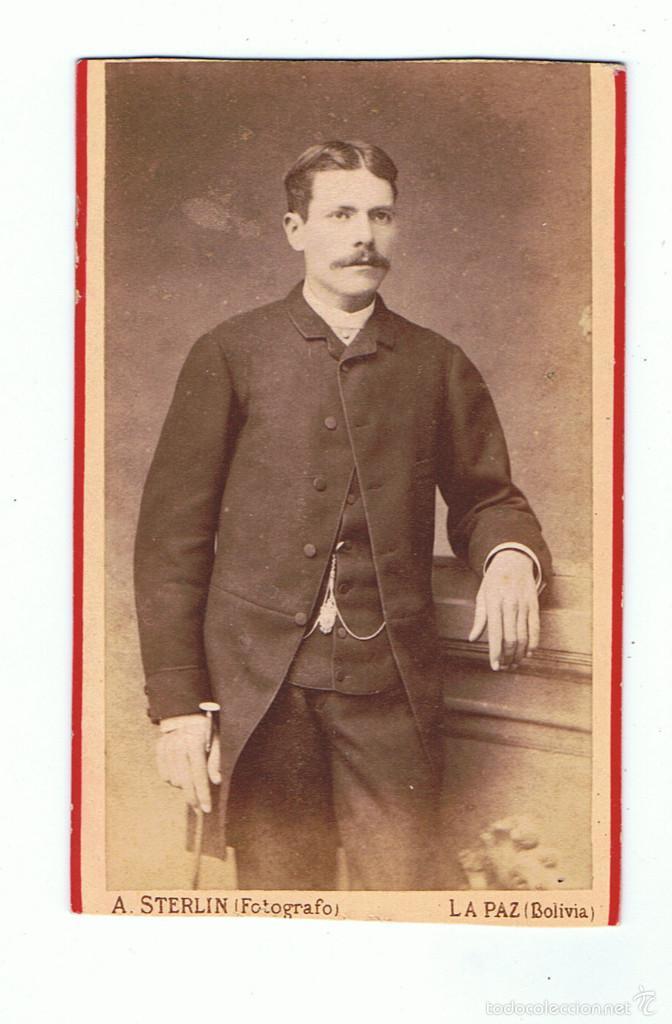 Fotografía antigua: FTO.C.DE VISITA. RETRATO DE JOSE SOLER, DEDICADA A SU AMIGO.1885. FOT.: A.STERLIN. LA PAZ (BOLIVIA) - Foto 3 - 58349846