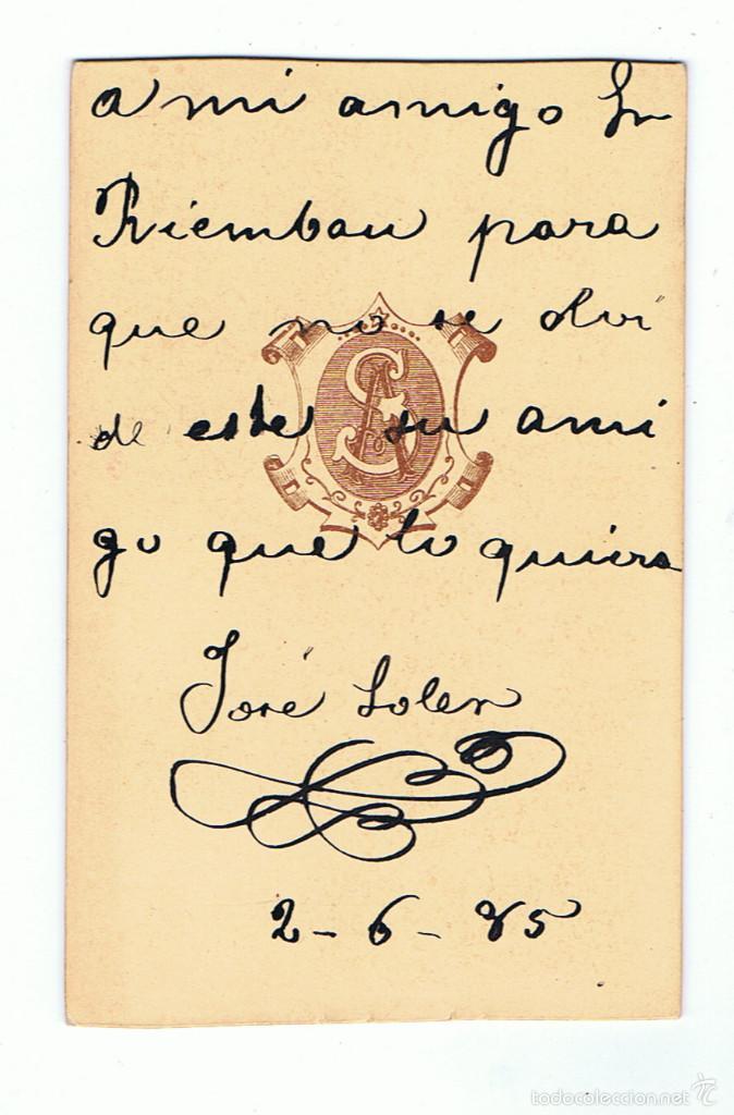 Fotografía antigua: FTO.C.DE VISITA. RETRATO DE JOSE SOLER, DEDICADA A SU AMIGO.1885. FOT.: A.STERLIN. LA PAZ (BOLIVIA) - Foto 4 - 58349846