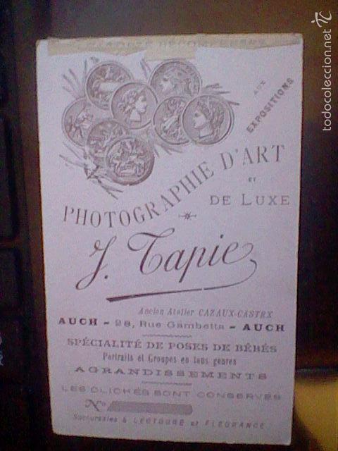 Fotografia Antigua CDV Tarjeta Visita Auch 1880 1900 Estudio Tapie Nino Baston