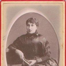 Fotografía antigua: FOTO C.DE VISITA. RETRATO EN MARCO OVALADO DE DAMA SENTADA.1885. FOT.N. LEROUX. ALGER. ALGERIA.. Lote 62498232