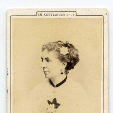 Fotografía antigua: MADAME CELLIER, ACTRIZ, THÉÂTRE DU VAUDEVILLE, PARIS, 1871, PHOTOGRAPHE CH. REUTLINGER. Lote 66240702