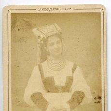 Fotografía antigua: MLLE ARGEME, THÉÂTRE DU VARIETES, ROLE DE PAOLA DANS LES CENT VIERGES. CA 1867 GASTON, MATHIEU & CIE. Lote 66245590