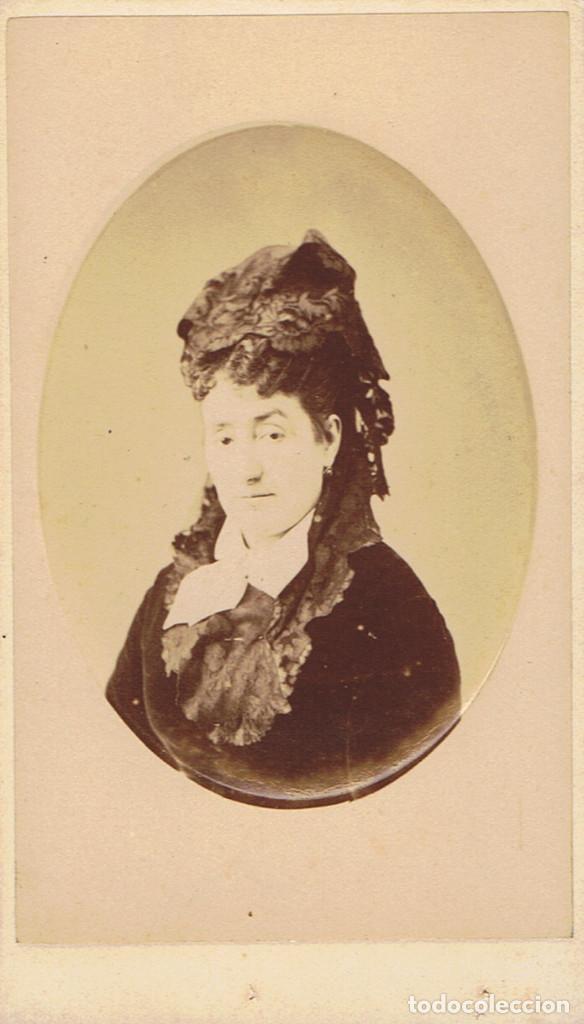 FOTO C.V. RETRATO DE DAMA EN ORLA. CON BELLA DEDICATORIA. CA.1879-1882. FOT.: EDGARDO DEBAS. MADRID. (Fotografía Antigua - Cartes de Visite)