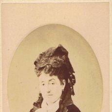 Fotografía antigua: FOTO C.V. RETRATO DE DAMA EN ORLA. CON BELLA DEDICATORIA. CA.1879-1882. FOT.: EDGARDO DEBAS. MADRID.. Lote 68405753