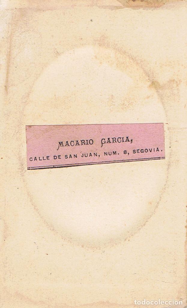 Fotografía antigua: FOTO C.V. RETRATO EN OVALO DE SEÑORITA. CA.1885-1890. FOT: MACARIO GARCIA.SEGOVIA. - Foto 2 - 69015225