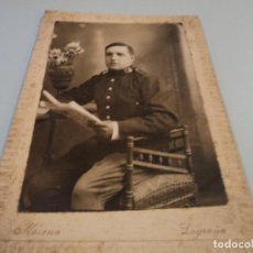 Fotografía antigua: FOTOGRAFO F. MORENO DE LOGROÑO MILITAR 15 X 10 CM CARTON. Lote 69722365