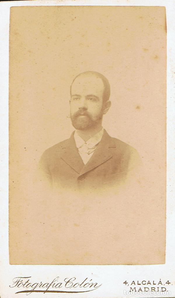 FOTO.C.V. RETRATO FRONTAL DE CABALLERO .CA.1880-1885. FOT.: FOTOGRAFÍA COLÓN. ALCALÁ. 4. MADRID. (Fotografía Antigua - Cartes de Visite)