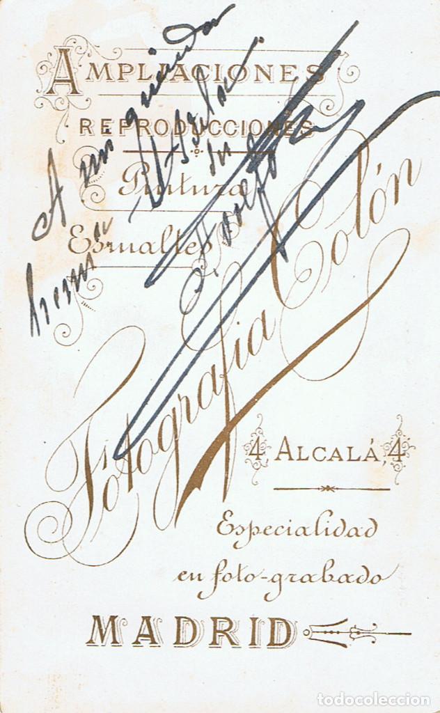 Fotografía antigua: FOTO.C.V. RETRATO FRONTAL DE CABALLERO .CA.1880-1885. FOT.: FOTOGRAFÍA COLÓN. ALCALÁ. 4. MADRID. - Foto 2 - 70207849