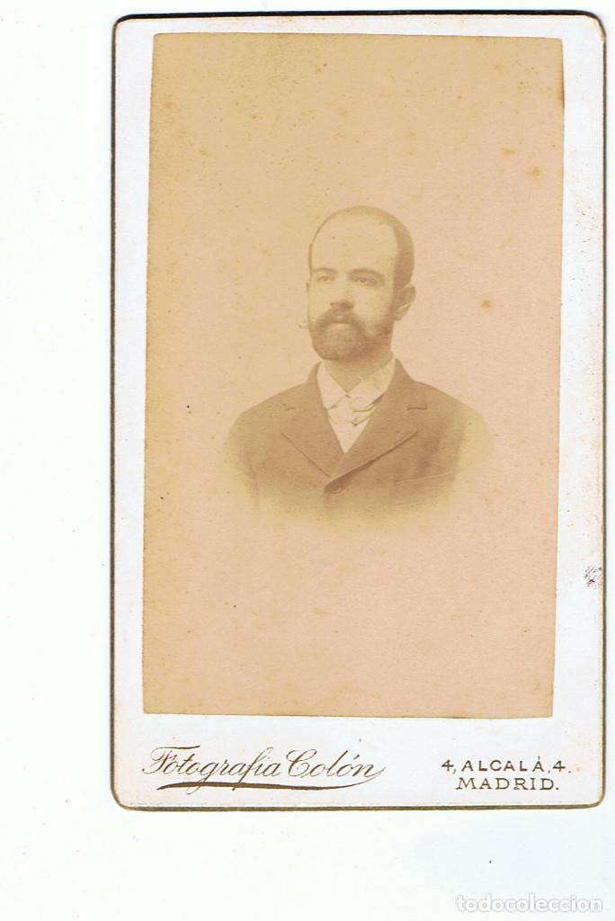 Fotografía antigua: FOTO.C.V. RETRATO FRONTAL DE CABALLERO .CA.1880-1885. FOT.: FOTOGRAFÍA COLÓN. ALCALÁ. 4. MADRID. - Foto 3 - 70207849
