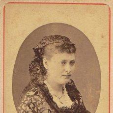Fotografía antigua: C.V. RETRATO DE DAMA CON VESTIDO Y MANTILLA DE ENCAJE. CA.1875. F.: ROMÁN RIBAS. PALMA DE MALLORCA. Lote 71135969