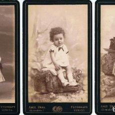 Fotografía antigua: TRES C.V. DE NIÑOS POSANDO . FAMILIA SAYROU. CA. 1888-1890. FOT.: AMIS UNAL.GERONA.. Lote 71614623