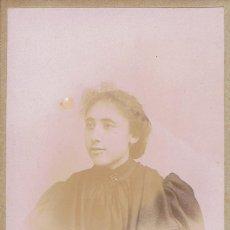 Fotografía antigua: FOTO C.V. RETRATO DE SEÑORITA JOVEN DE NEGRO. CA.1890. FOT: P. BACARD. PERPIGNAN.. Lote 71782711