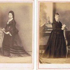 Fotografía antigua: DOS C.V. DOS SEÑORAS DE NEGRO POSANDO. CA. 1870-1875. FOT. SIN AUTORIA. PROCED: BARCELONA.. Lote 71865419