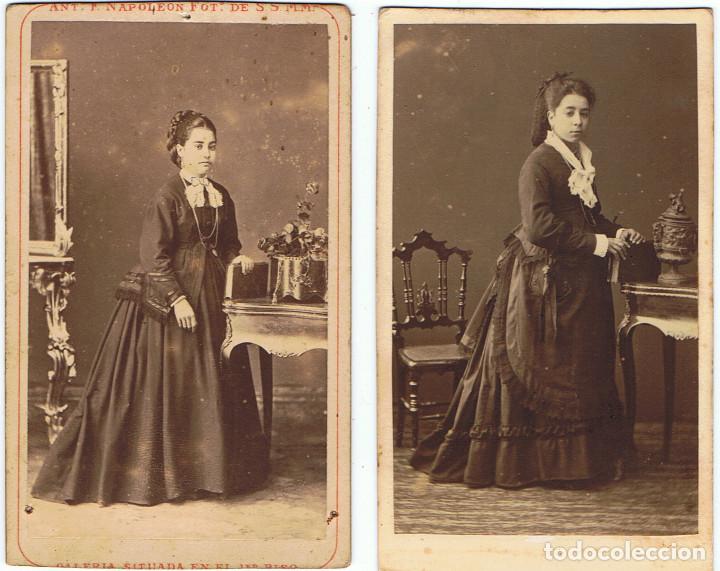DOS C.V. RETRATOS DE DAMAS DE NEGRO POSANDO. CA.1880-1885. FOT.:A.F. DIT NAPOLEON.BARCELONA. (Fotografía Antigua - Cartes de Visite)