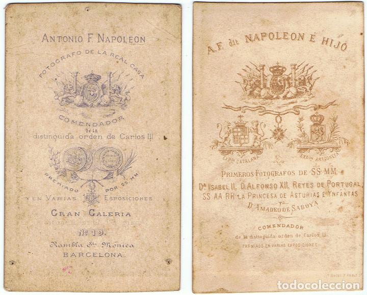 Fotografía antigua: DOS C.V. RETRATOS DE DAMAS DE NEGRO POSANDO. CA.1880-1885. FOT.:A.F. DIT NAPOLEON.BARCELONA. - Foto 2 - 71985379