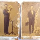 Fotografía antigua: RARA ANTIGUA FOTOGRAFIA, ALBUMINA,2 CDV, MAGO RIBERA, ESTUDIO VICENTE SIMARRO, XATIVA, JATIVA, 1900S. Lote 72032147