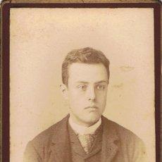 Fotografía antigua: FOTO C.V. RETRATO DE JOVEN DE OJOS PROMINENTES. CA.1885-1890. FOT.: RAFAEL AREÑAS. BARCELONA. Lote 72402171
